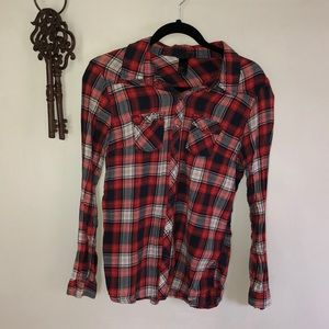 H&M Blue and Red Plaid Button-Down Shirt